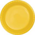 School Bus Yellow Plastic Banquet Dinner Plates - Bulk