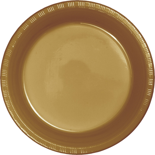 Gold Plastic Banquet Dinner Plates