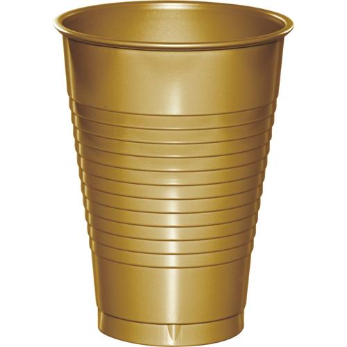 Gold Plastic Beverage Cups - 12 oz