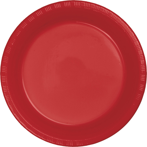 Classic Red Plastic Banquet Dinner Plates - Bulk
