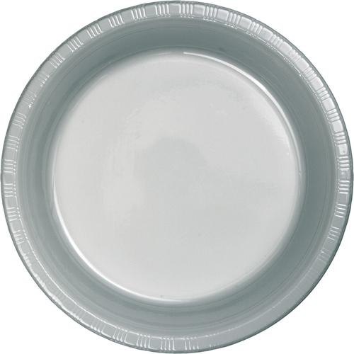 Silver Gray Plastic Dessert Plates