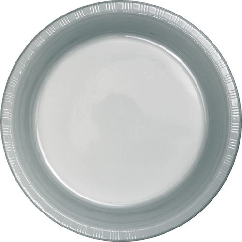 Silver Gray Plastic Luncheon Plates