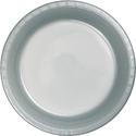Silver Gray Plastic Luncheon Plates - Bulk