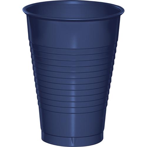 Navy Blue Plastic Beverage Cups - 12 oz