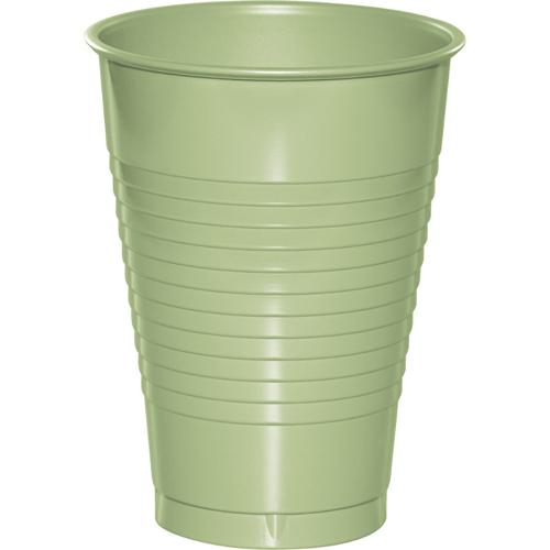 Sage Green Plastic Beverage Cups - 12 oz