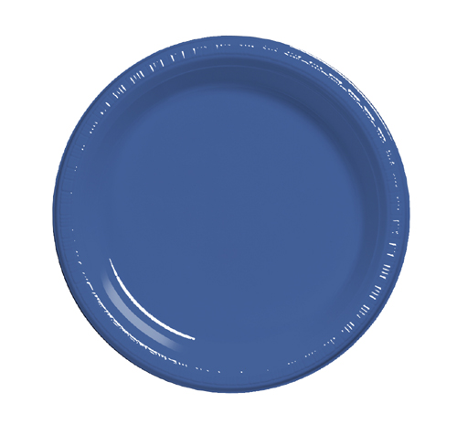 True Blue Plastic Banquet Dinner Plates