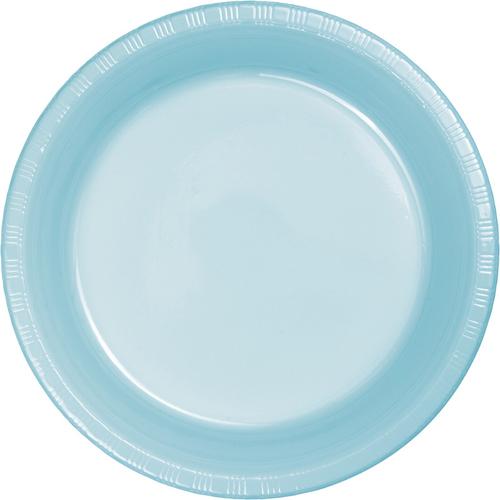 Pastel Blue Plastic Banquet Dinner Plates - Bulk
