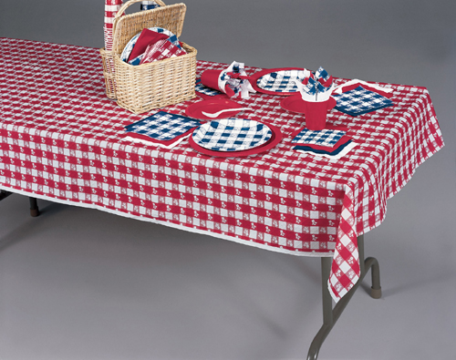 Red Gingham Paper Tablecloths - 54 x 108 Inches