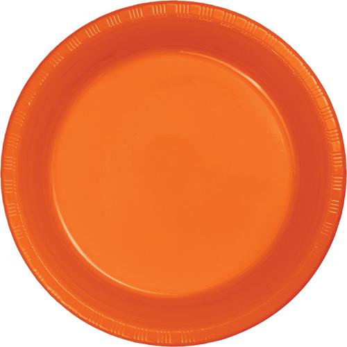 Sunkissed Orange Plastic Banquet Dinner Plates