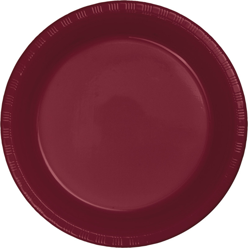 Burgundy Plastic Luncheon Plates - Bulk