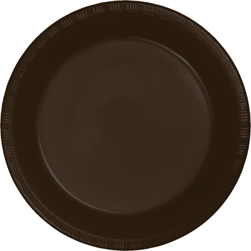 Chocolate Brown Plastic Banquet Dinner Plates