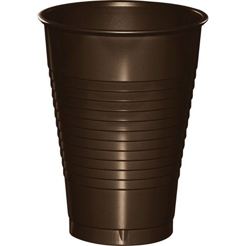 Chocolate Brown Plastic Beverage Cups - 12 oz