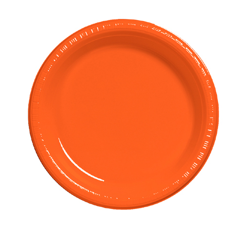 Bittersweet Orange Plastic Banquet Dinner Plates