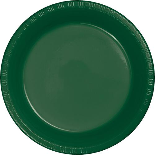 Hunter Green Plastic Banquet Dinner Plates