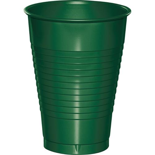 Hunter Green Plastic Beverage Cups - 12 oz