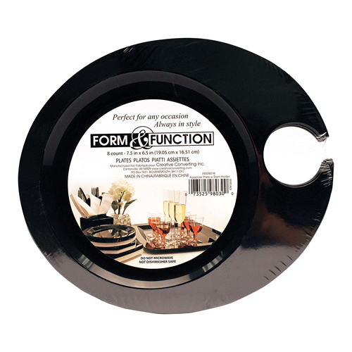 Disposable Plastic Wine Holder Plates - Black