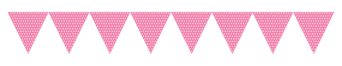 Pink Paper Flag Banners - Polka Dots