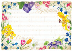 Floral Music Sheet Paper Placemats