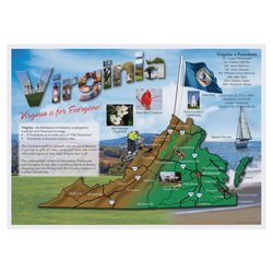 Virginia Map Paper Placemats