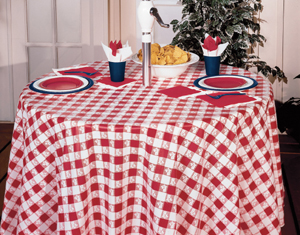 Red Gingham Round Plastic Tablecloths - 82 Inch