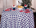 Blue Gingham Round Plastic Tablecloths - 82 Inch