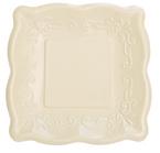 Ivory Linen Embossed Paper Dessert Plates
