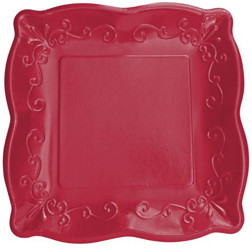 Garnet Embossed Paper Dessert Plates