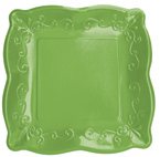 Verdi Green Embossed Paper Dinner Plates