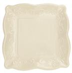 Ivory Linen Embossed Paper Dinner Plates
