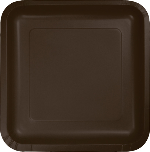Chocolate Brown Square Paper Dessert Plates