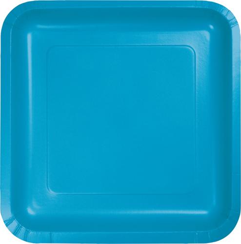 Turquoise Square Paper Dessert Plates