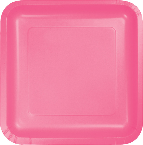 Candy Pink Square Paper Dessert Plates