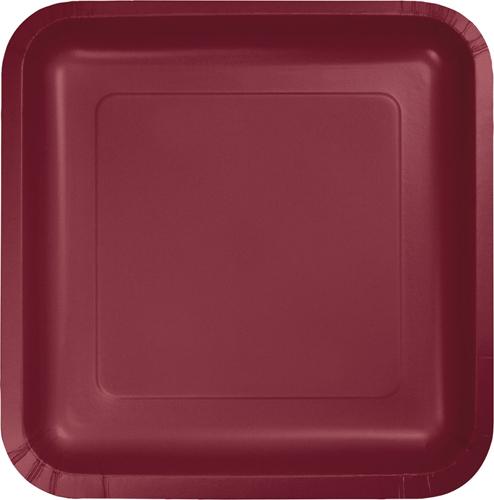 Burgundy Square Paper Dessert Plates