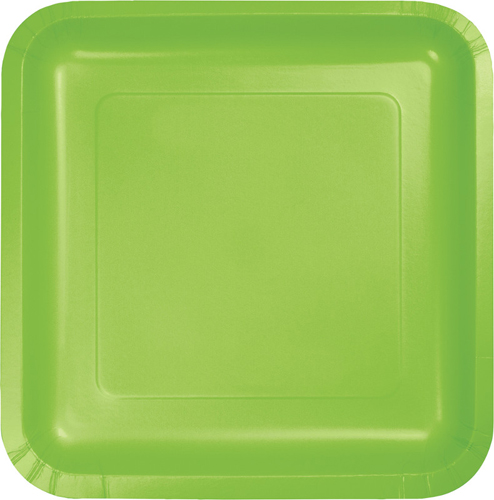 Lime Green Square Paper Dessert Plates
