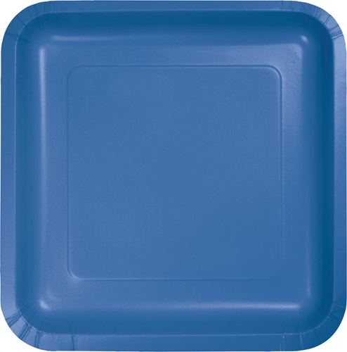 True Blue Square Paper Dessert Plates