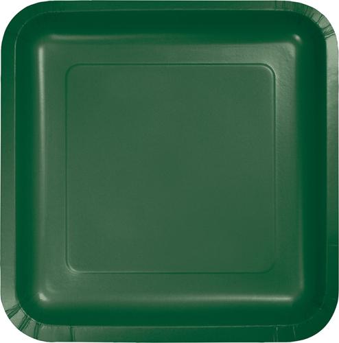 Hunter Green Square Paper Dessert Plates