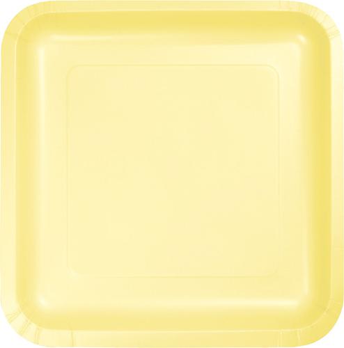 Mimosa Yellow Square Paper Dessert Plates