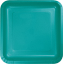 Tropical Teal Square Paper Dessert Plates