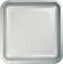 Silver Gray Square Paper Dessert Plates