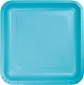 Bermuda Blue Square Paper Dessert Plates