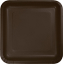 Chocolate Brown Square Paper Luncheon Plates
