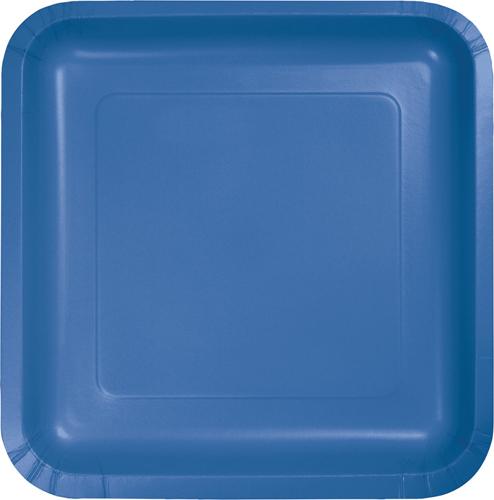 True Blue Square Paper Luncheon Plates