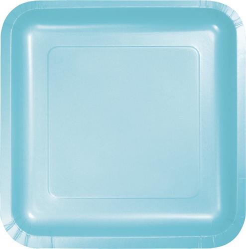 Pastel Blue Square Paper Luncheon Plates
