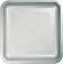 Silver Gray Square Paper Luncheon Plates