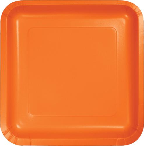 Sunkissed Orange Square Paper Luncheon Plates