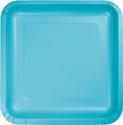 Bermuda Blue Square Paper Luncheon Plates