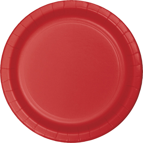 Classic Red Paper Luncheon Plates