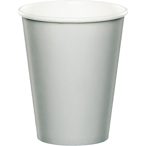 Silver Gray Paper Beverage Cups