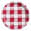 Red Gingham Paper Dessert Plates - Bulk
