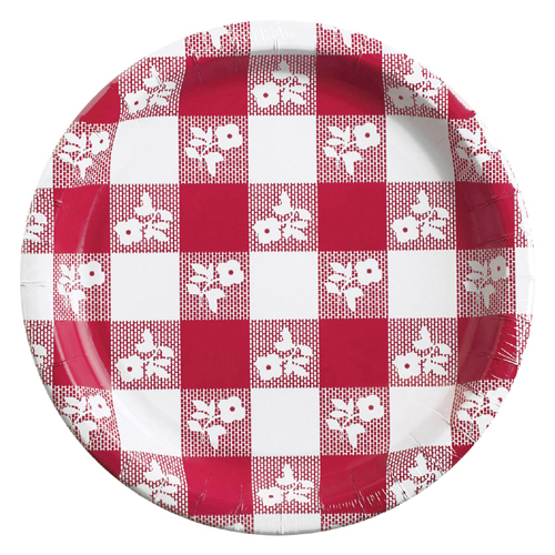 Red Gingham Paper Luncheon Plates - Bulk
